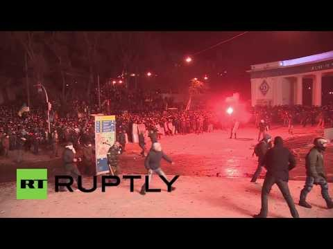 Kiev goes medieval as protesters attack with clubs, shields