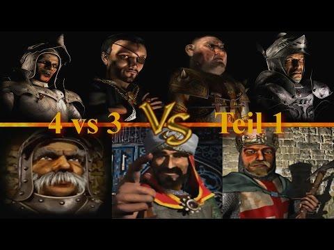 Die 4 Herzöge vs Marschall, Saladin, Richard - Teil 1   Stronghold Crusader KI Kämpfe (German)