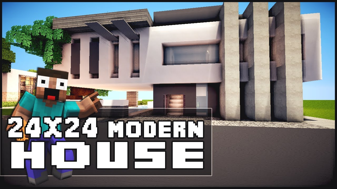Minecraft house tutorial 24x24 modern house youtube for Modern house xbox minecraft
