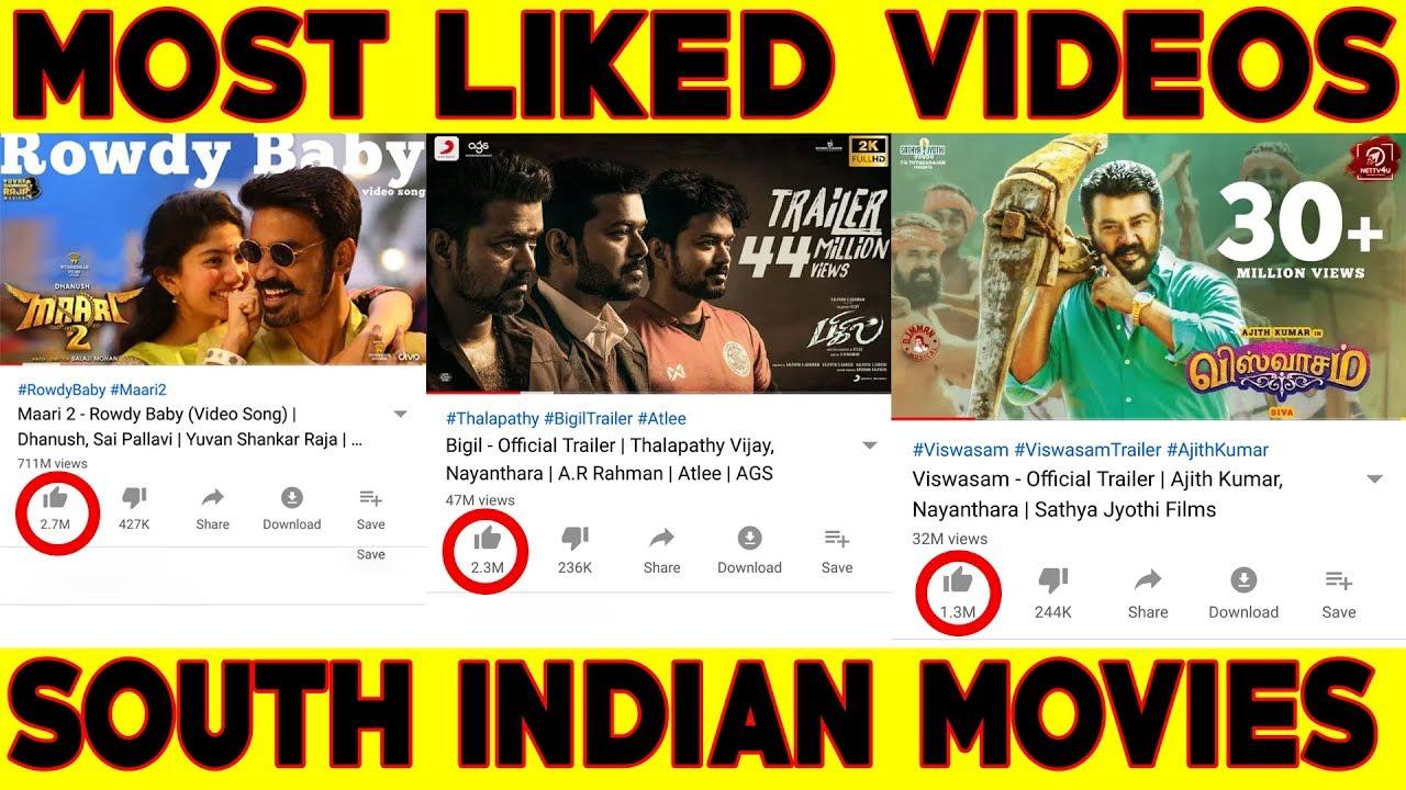 அதிக likes பெற்ற South Indian Movies/Videos | Vijay | Ajith | Dhanush | #Nettv4u
