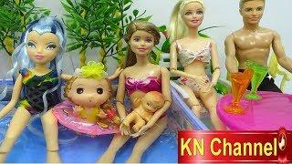 Đồ chơi trẻ em HỒ BƠI BÚP BÊ DẠY BÀ PHÙ THỦY MỘT BÀI HỌC Pool Party for doll toy water