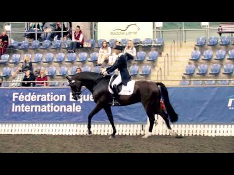Mary Hanna and Sancette wn the Pessoa Dressage GP Freestyle at the Australian Dressage Championships