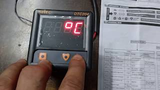 Temperature controller settings select TC203 for ... on