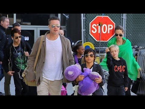 Brad Pitt & Angelina Jolie Arrived Home To Los Angeles With Their Children | Feb 2014