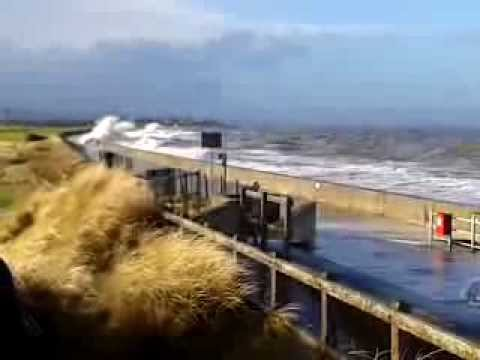 Prestatyn Rhyl 3.1.2014 - UK Wales Tidal Wave Surge Flood high tide waves