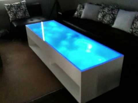 Blue led coffee table youtube Led coffee table