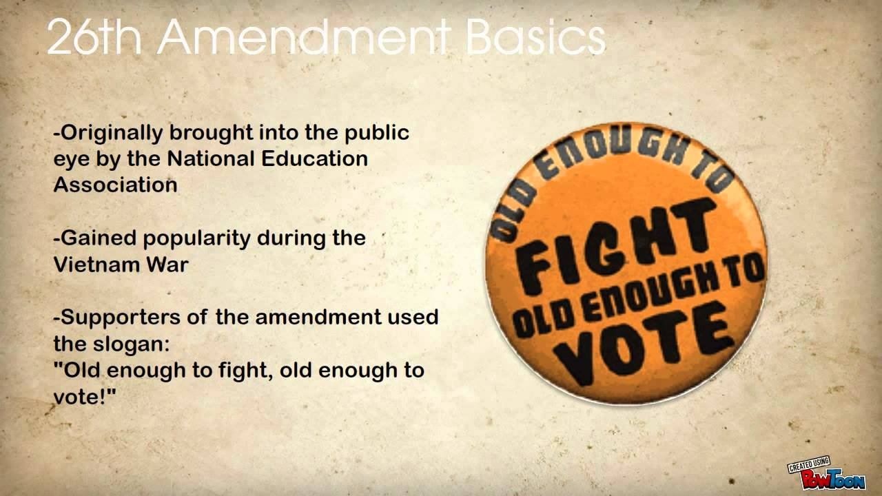 the 26th amendment Earlier this year, south dakota's legislature ratified the 26th amendment to the constitution, prohibiting the federal government, states and localities.