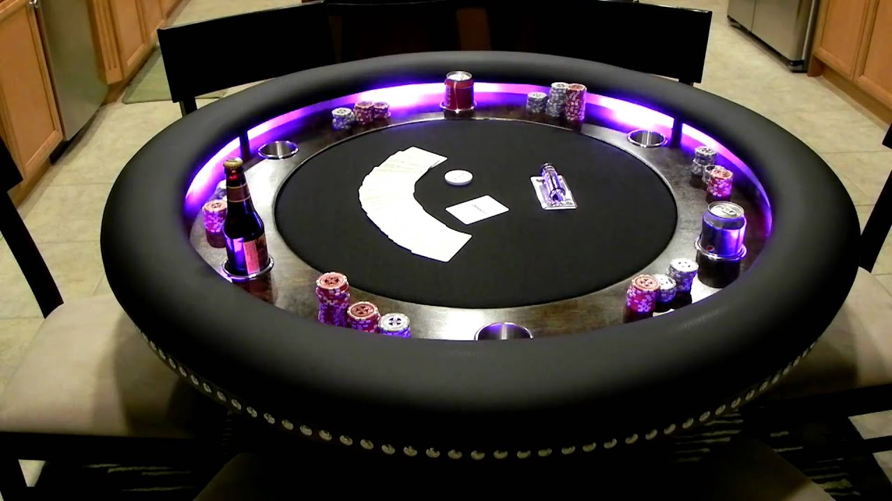 ESPN 10 Player Premium Poker Table With In Laid LED Lights