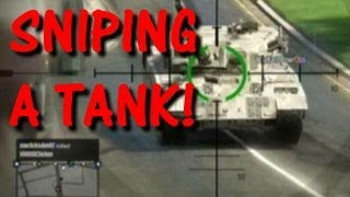 SNIPING A TANK! (please Share) GTA 5 ONLINE