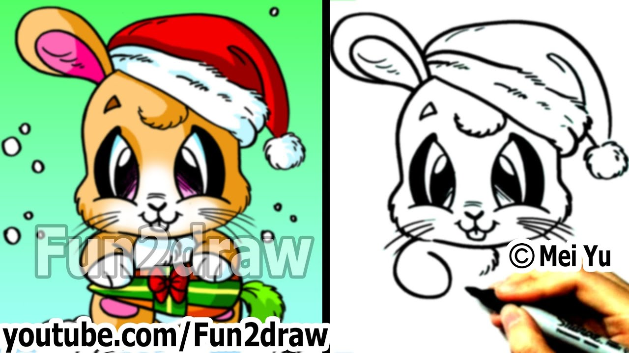 Draw Santa Bunny For Christmas Real Time Drawing Tutorial YouTube