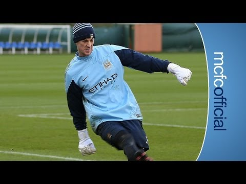 HART THE STRIKER Goalkeeper Joe Hart plays as a forward in training