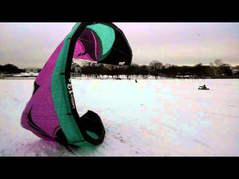 Kiteboarding / Snowboarding at Washington Monument During Snowstorm Titan