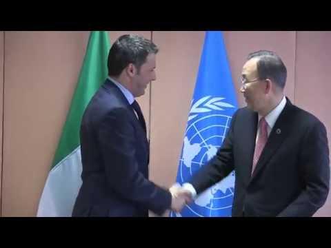 Renzi e Ban Ki-moon ONU - Video Vertice Ue-Africa a Bruxelles