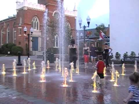 Having Fun at the New Winchester Pedestrian Mall Splash Pad - by Augusta Aquatics