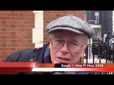 Protest over detained reporters  outside the Egyptian embassy in London 19 02 2014