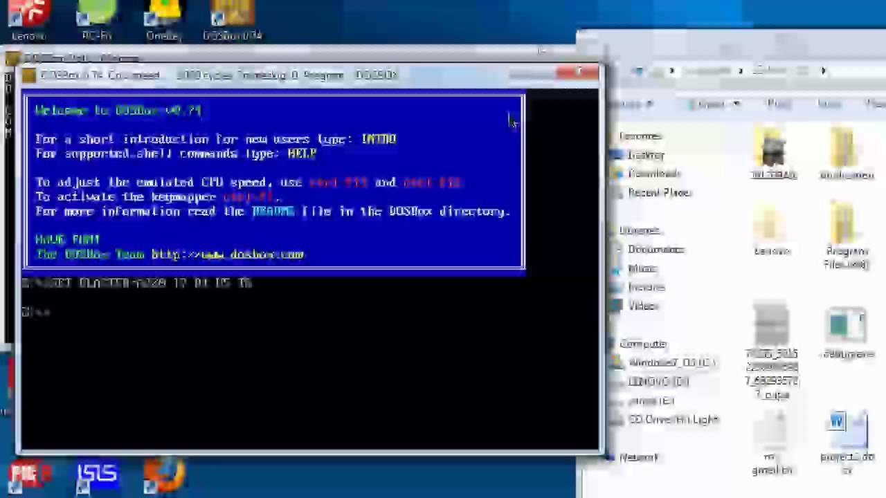 how to run c program in dosbox
