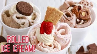 Homemade Rolled Ice Cream with Only 2 Ingredients + Nutella, Oreo & Strawberry Cheesecake Flavors!!