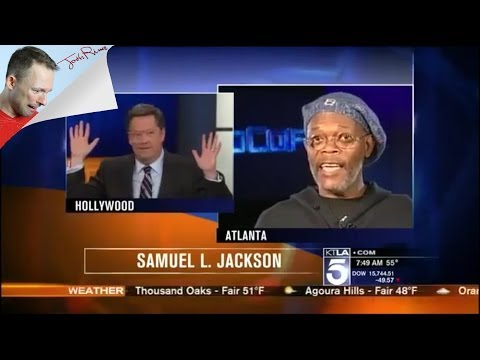 Samuel L. Jackson flips out on reporter for mistake on TV. He's not Laurence Fishburne!