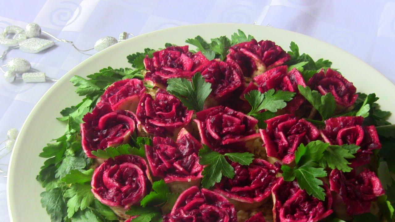 Салат розы из блинов рецепт