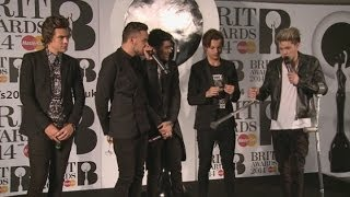 Brits 2014 Winners Room: One Direction's drunk rap after their big win