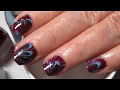 Plum, Blue & Grey Water Marble Nail Art Tutorial (Water Marble March 2013 #9)