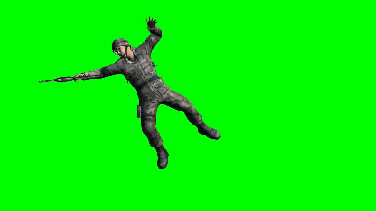 COD soldier is shot - different views - free green screen ...
