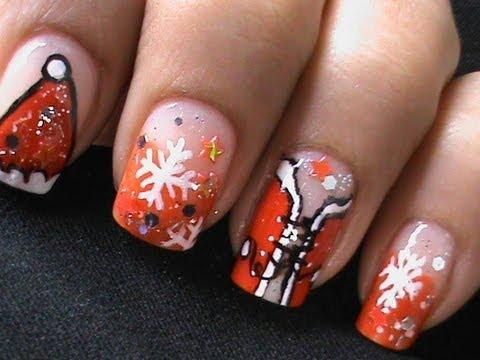 sexy santa girls  christmas nail art tutorial  easy nail