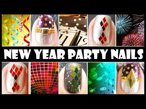 NEW YEAR PARTY NAILS | GLITTER NAIL ART DESIGN TUTORIALS EASY SIMPLE BEGINNERS DECAL FOR SHORT NAILS