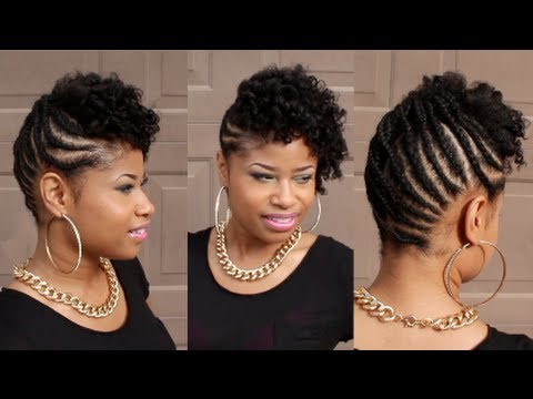 Curly BRAIDED UPDO on NATURAL HAIR - YouTube