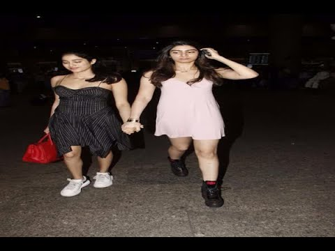 In Graphics: See the latest Mumbai Airport pictures of Sri Devi's daughters Jhanvi Kapoor