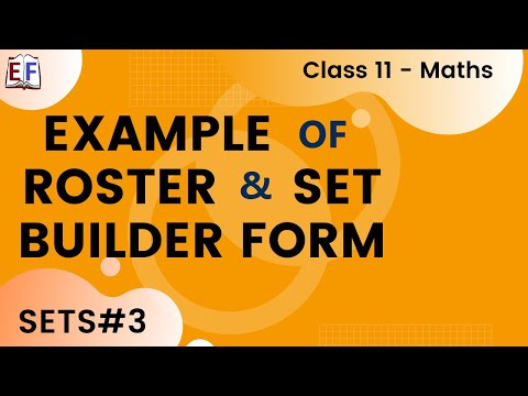 Maths Sets Mathematics CBSE Class X1 Part 3 (Example of Roster and SetBuilder Form)