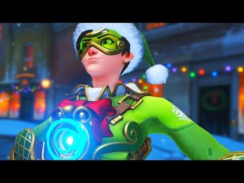 Overwatch - JINGLE Christmas Tracer Legendary Skin Gameplay (Winter Wonderland)