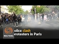French riot police clash with youths protesting election
