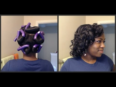 Girly Curls with ONLY 9 Purple Flexi Rods - YouTube
