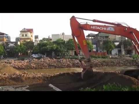 Cần cẩu và Máy xúc thi công phố Ngọc Trì, Thạch Bàn 2014