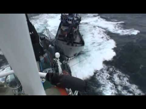 The Sea Shepherd Bob Barker rams the research vessel Yushin Maru No. 3 port side stern