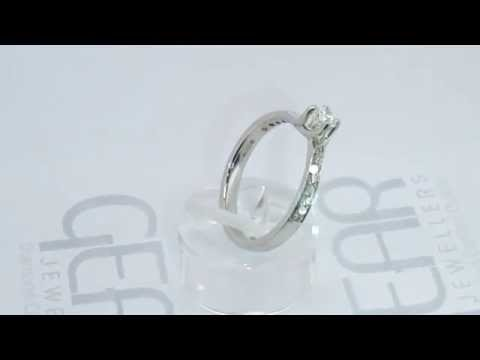Gear Jewellers Dublin White Gold Diamond Twist Solitaire & French Pave Sides 0101165
