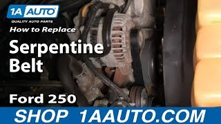How To Install Replace Serpentine Belt 99-07 Ford F250