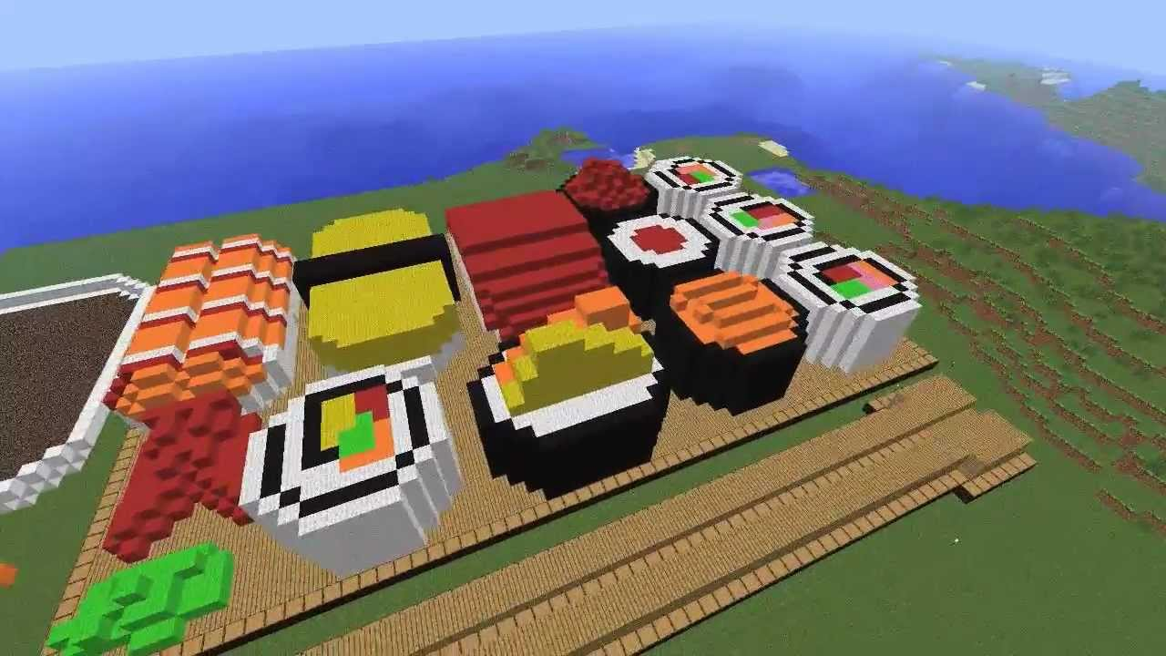 Minecraft Creations Giant Sushi Platter Youtube