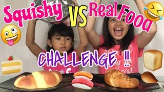 SERUU!! 🤪🤣| SQUISHY VS REAL FOOD CHALLENGE with Cousin ❤️
