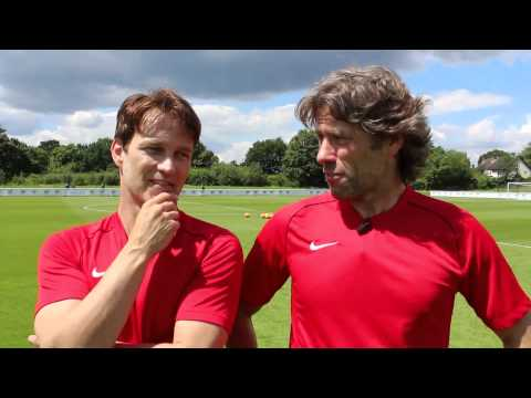Soccer Aid 2014: John Bishop and Stephen Moyer catch up at training