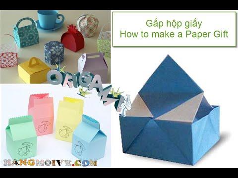 Cách gấp, xếp hộp giấy có tay cầm origami - Video hướng dẫn
