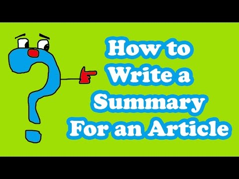 how to write a summary for an article