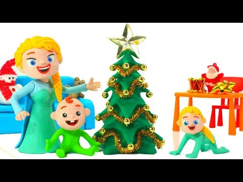 FUNNY KIDS DECORATE THE TREE ❤ Play Doh Cartoons For Kids
