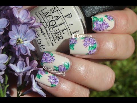 Дизайн сирень на ногтях