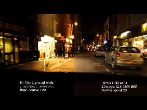 Grading compare - GH3 low light - night drive - Hitfilm 2