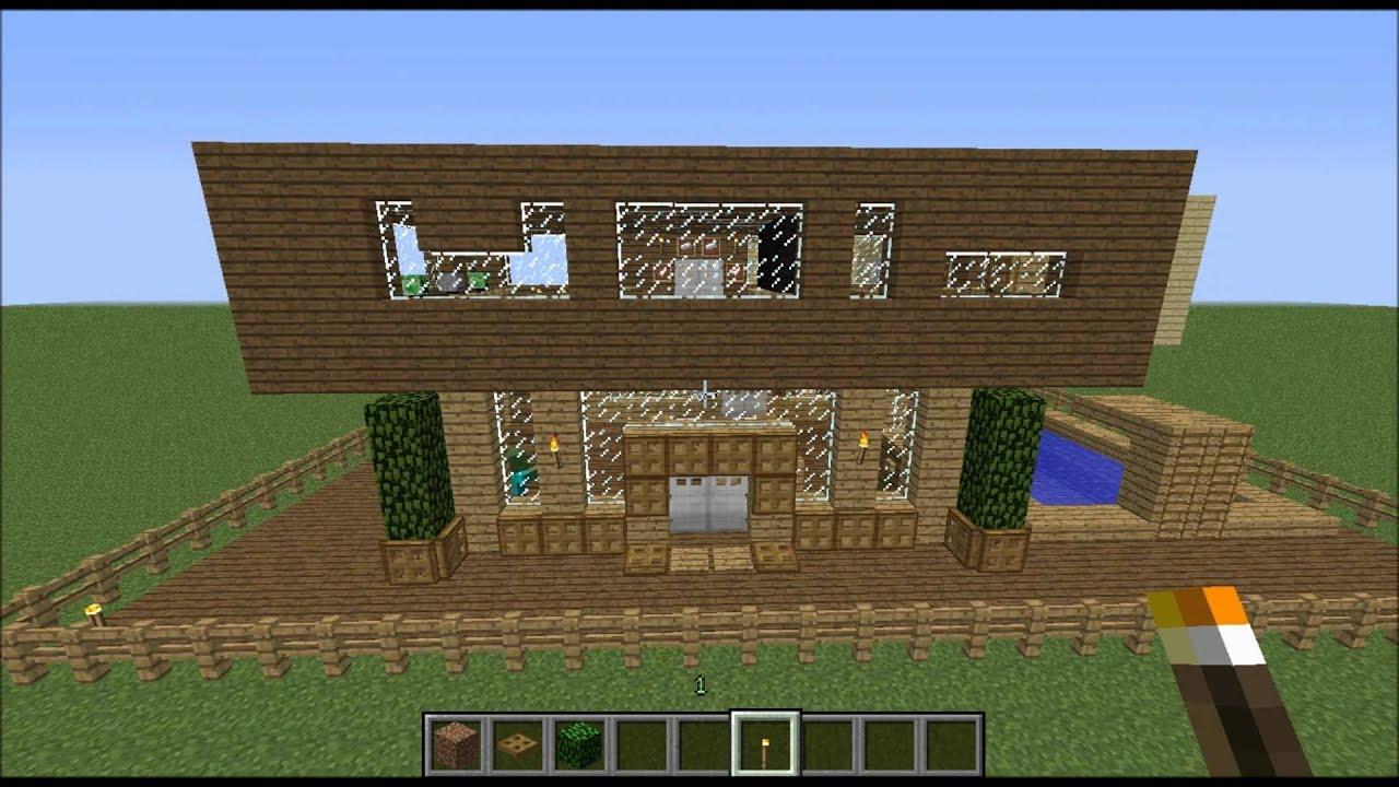 Minecraft maison moderne bois bonus youtube - Maison moderne bois ...