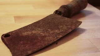 Very rusty cleaver (butcher's knife) restoration - step by step DIY