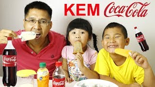 BÉ BÚN LÀM KEM BẰNG COCA COLA – MAKE ICE CREAM WITH COCA COLA FOR KID