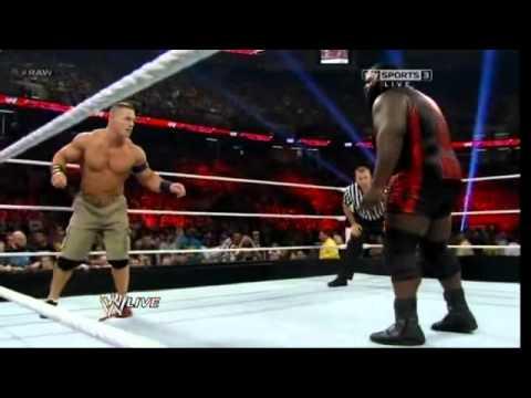 WWE Raw 4/8/13 John Cena vs Mark Henry [Ryback Turn heel]